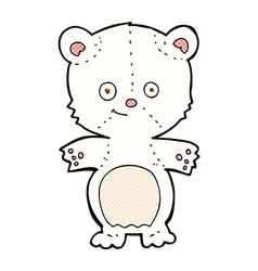 Comic cartoon polar bear cub vector