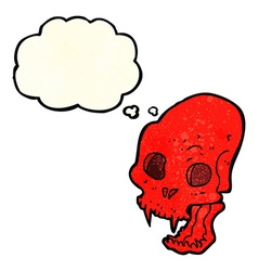 Cartoon spooky vampire skull with thought bubble vector