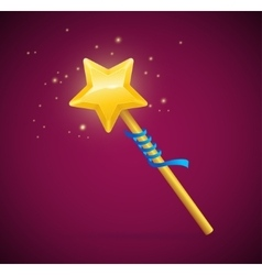Magic wand with shining star vector
