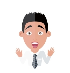 Emotion avatar man surprise success vector