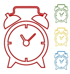 Alarm clock set of line icons vector
