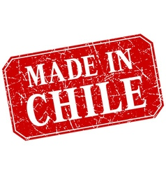 Made in chile red square grunge stamp vector