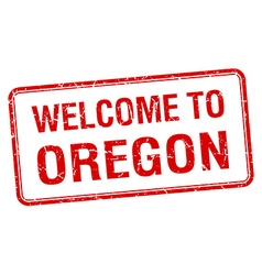 Welcome to oregon red grunge square stamp vector