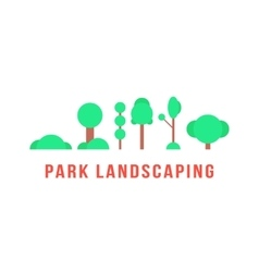 Park landscaping with trees and bushes vector