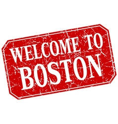 Welcome to boston red square grunge stamp vector