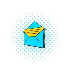Open e-mail icon pop-art style vector