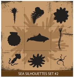 Abstract silhouette sea animals isolated vector image vector image