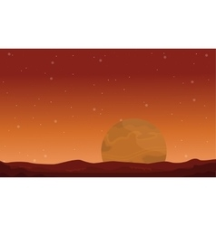 Big planet on space landscape vector image vector image