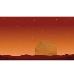 Big planet on space landscape vector