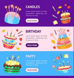 cartoon color cakes banner horizontal set vector image vector image