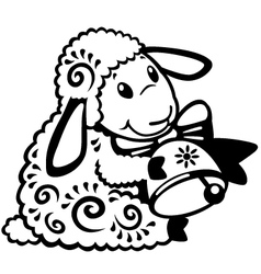 Cartoon sheep black white vector
