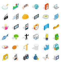 Concrete icons set isometric style vector