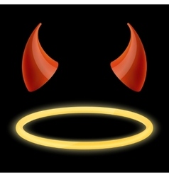 Devil horns and angel halo vector