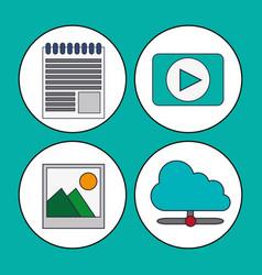Digital marketing concept video multimedia social vector