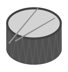 Drum icon in monochrome style isolated on white vector