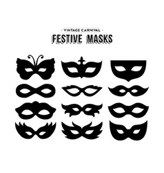 Festive carnival silhouettes mask set isolated vector