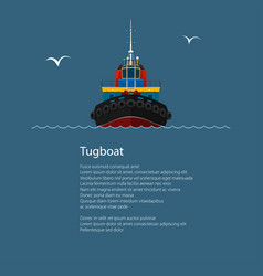 Front view of tugboat and text vector