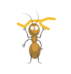 funny brown ant that holds small dry branch vector image vector image