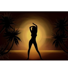 Girl Silhouette On Sunset Beach Background vector image