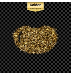 Gold glitter icon of bean rocket isolated vector