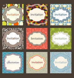 invitation card design template set editable vector image vector image