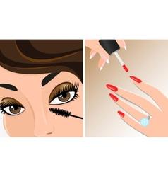 Make-up twice mascara and nail polish vector