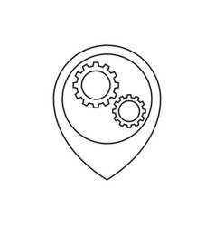 map pointer with gears inside line icon vector image
