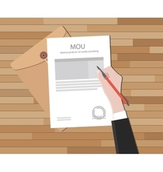 mou memorandum of understanding text on document vector image