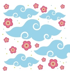 Pink flowers and clouds vector