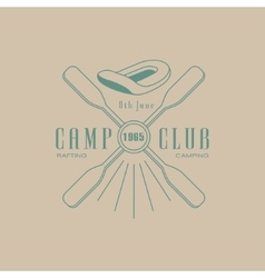 Rafting camp club emblem design vector