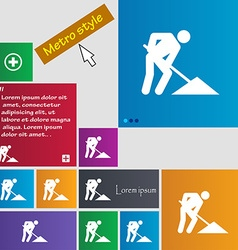 Repair of road construction work icon sign buttons vector