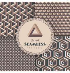 Set with seamless pattern vector image vector image