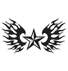 star and flame wings vector image vector image