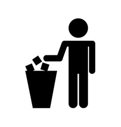To deposit garbage sign vector