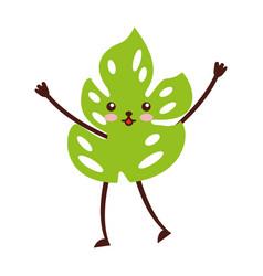Tropical leaf summer kawaii character vector