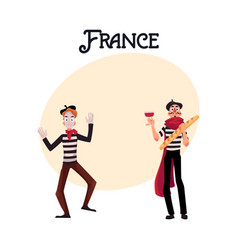 Two french mimes in traditional costumes wine and vector
