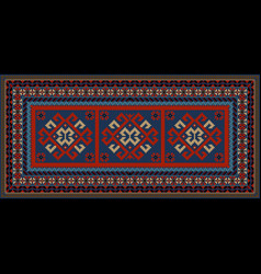 Vintage motley carpet with ethnic red pattern on t vector