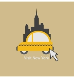 Visit new york city and choose a taxi vector