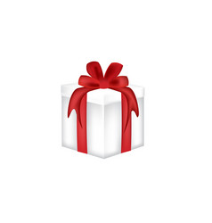 white gift box with a red bow vector image
