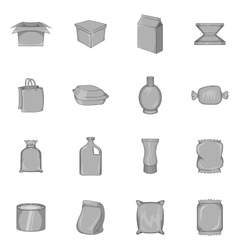 Packaging icons set black monochrome style vector