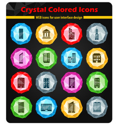 Buildings icons set vector