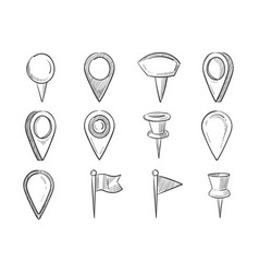 Hand drawn map pointers doodle navigation pins vector