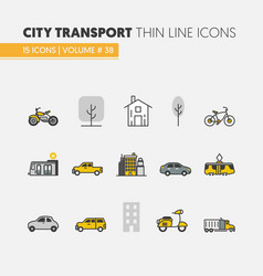 City transportation linear thin icons vector