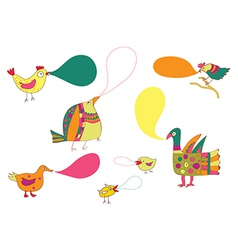 Birds and speak bubbles funny design vector