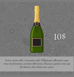 Champagne beverage card template vector