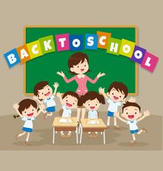 Back to school with teacher and pupil vector