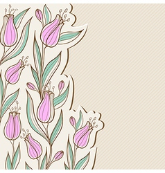 Decorative floral background with pink tulips vector