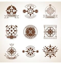 Compass label set vector