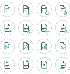 Set of thin line document icons vector