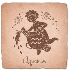 Aquarius zodiac sign horoscope vintage card vector